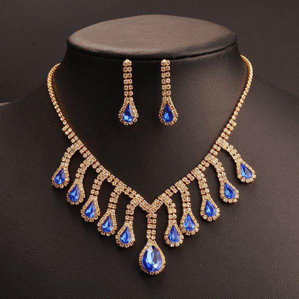 Buy Suit Graceful Rhinestone Teardrop Tassel Pendant Necklace Earrings Women BLUE