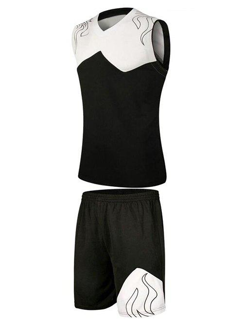 Printed Color Block Splicing V-Neck Sleeveless Sport Suit ( Tank Top + Shorts ) - BLACK 5XL
