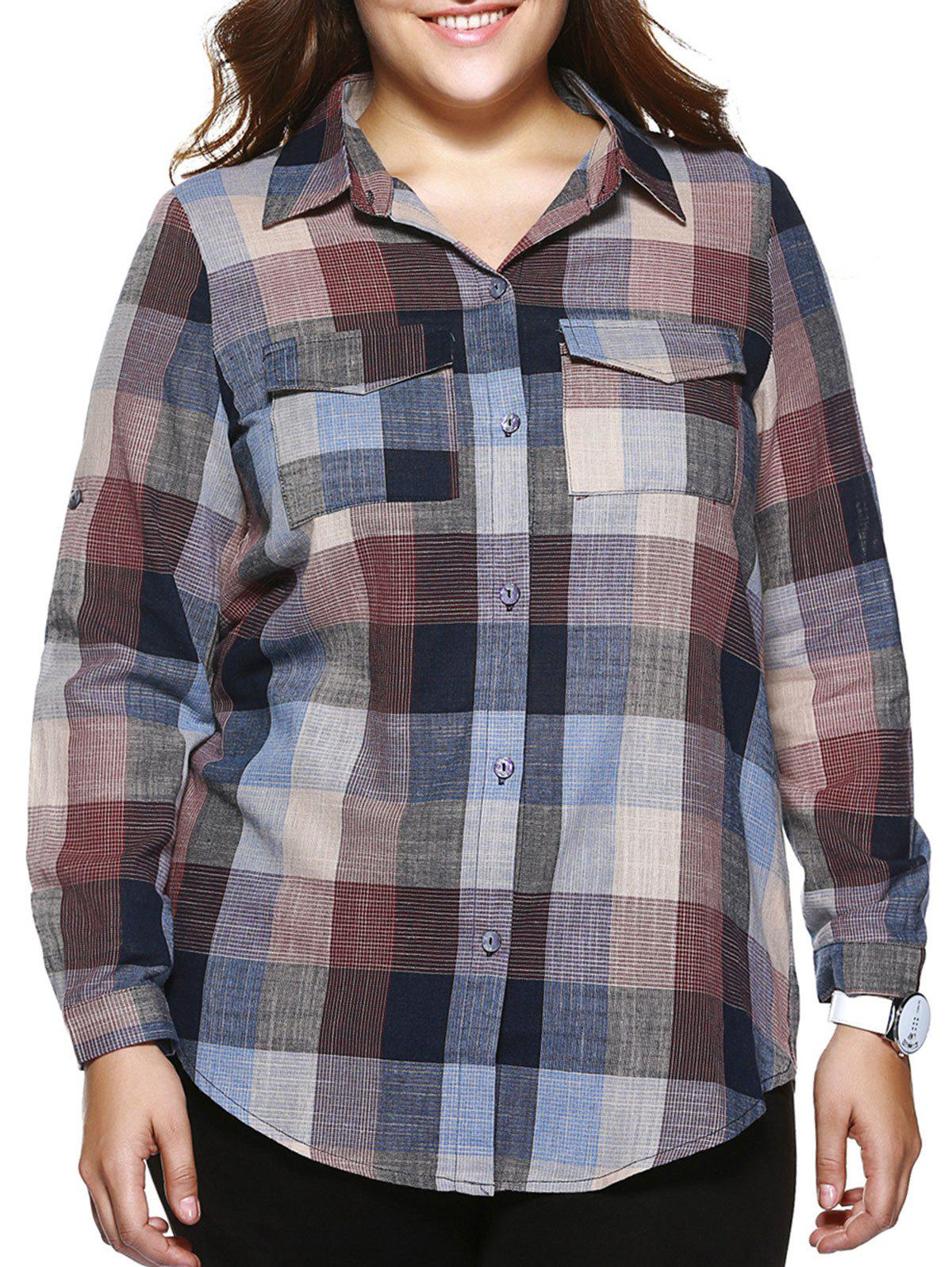 Oversized Casual Plaid Print Adjustable Sleeve Shirt - COLORMIX 5XL