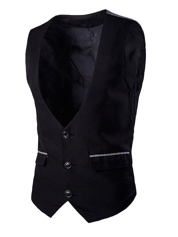 Gingham Spliced Buckle Back Men's Single Breasted Vest - BLACK L