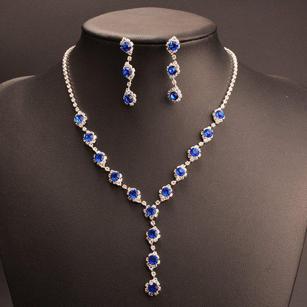 A Suit of Faux Crystal Rhinestone Y Shape Necklace and Earrings - BLUE