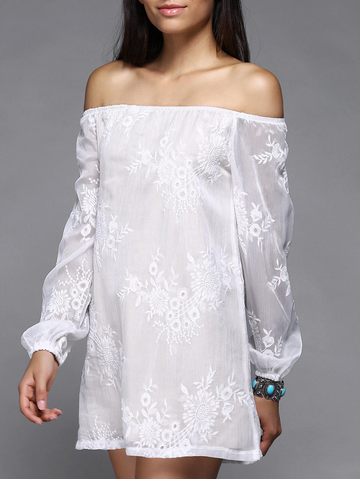 Off The Shoulder Puff Sleeve Embroidered Dress - WHITE M