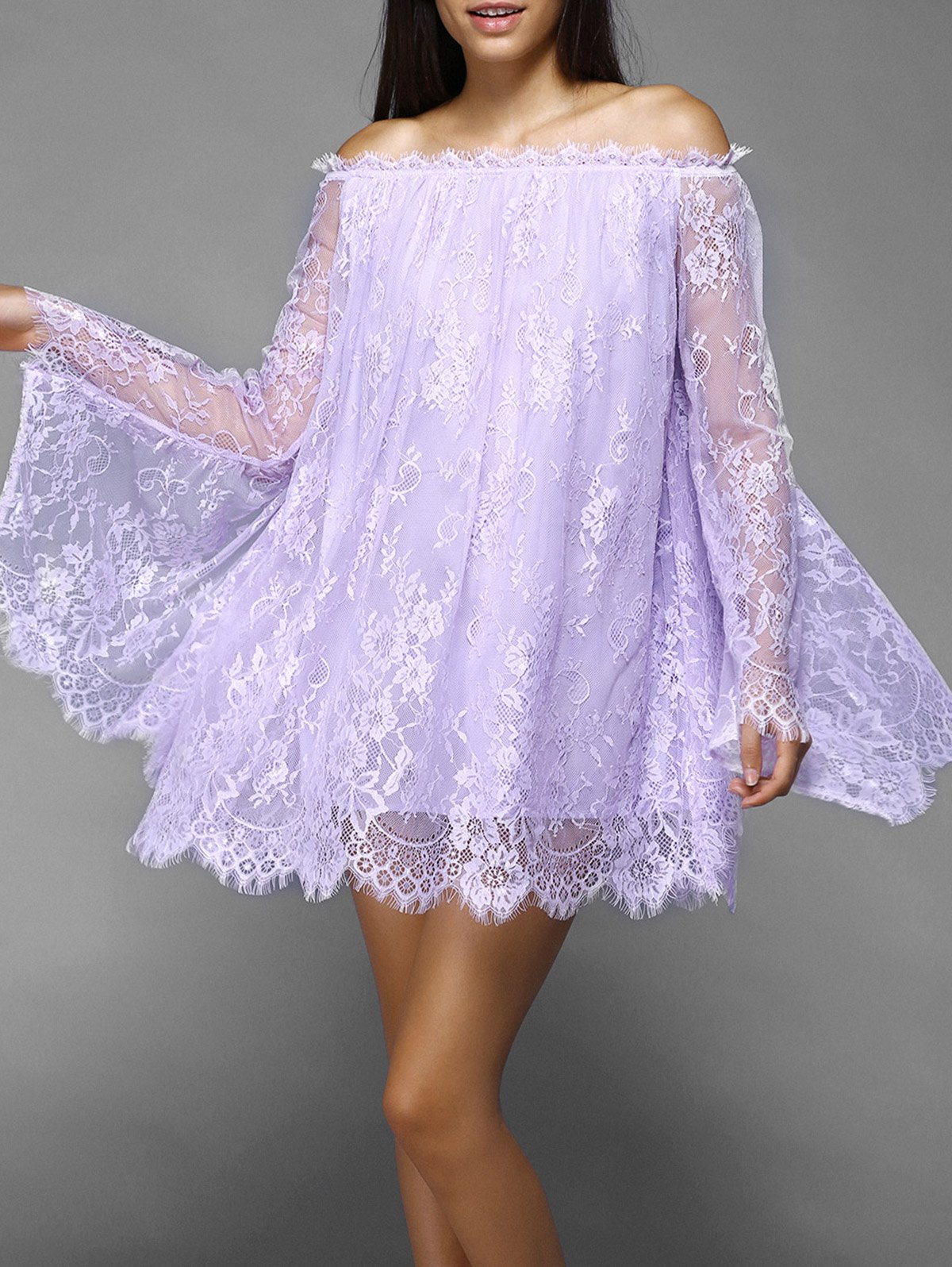 Off The Shoulder Puff Sleeve Lace Dress - PURPLE M