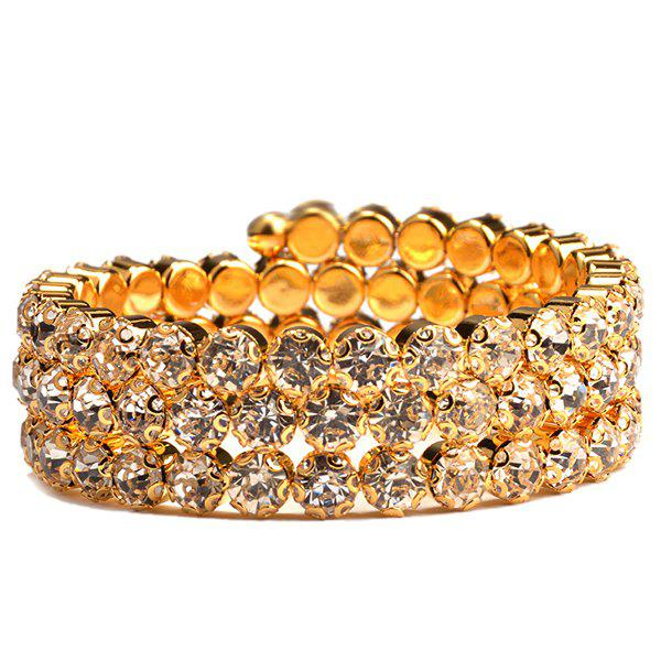 Round Tiered Rhinestone Hollow Out Bracelet - GOLDEN