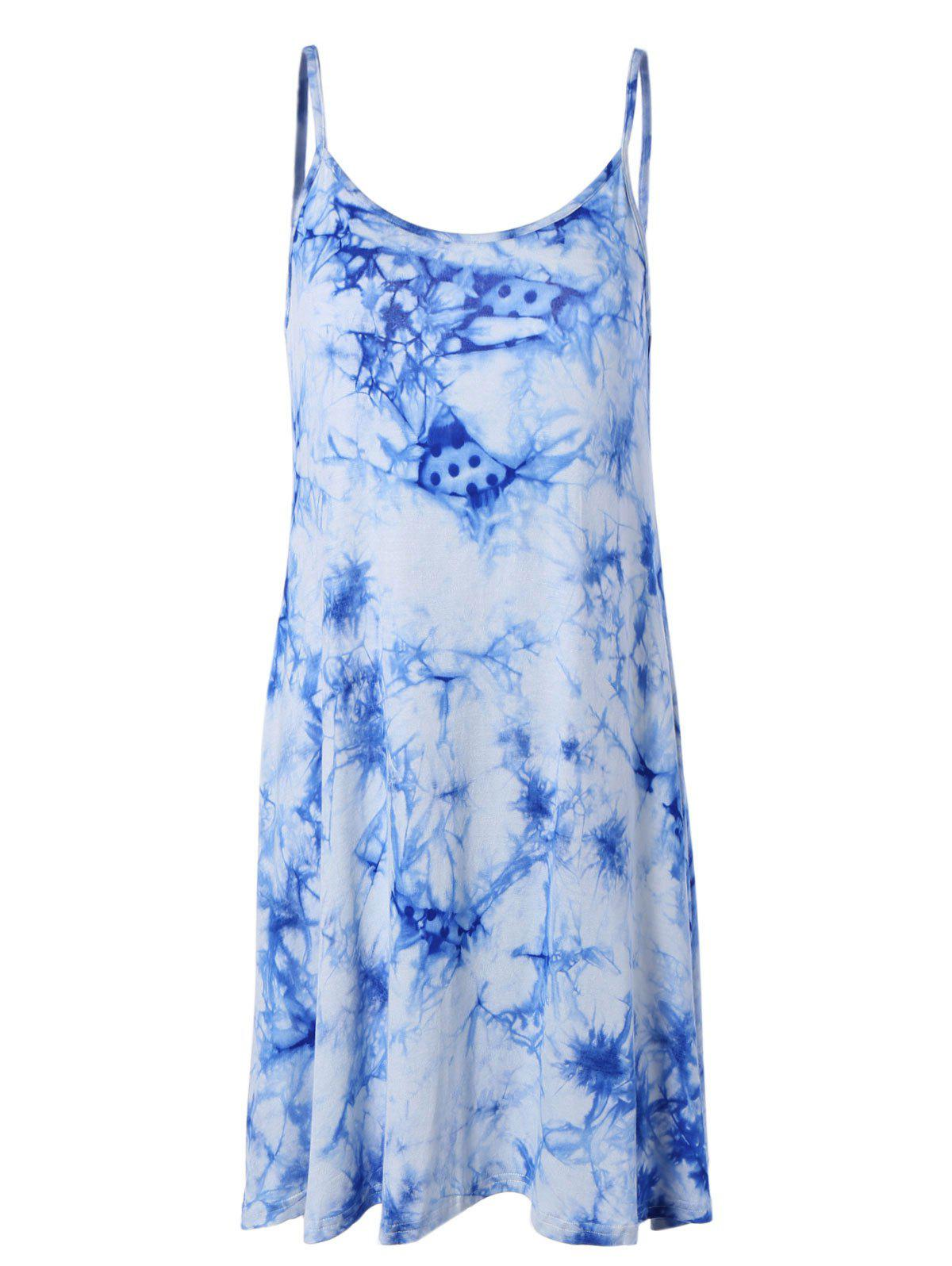 Charming Spaghetti Strap Tie-Dye Backless Women's Dress - BLUE 3XL