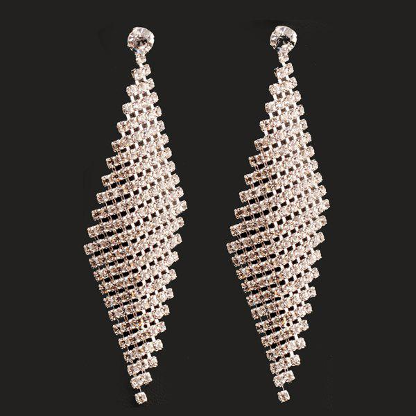 Pair of Rhombus Shape Hollow Out Rhinestone Earrings - SILVER