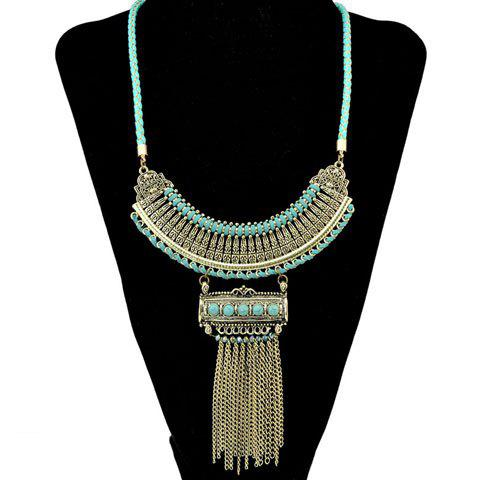 Bohemia Style Faux Turquoise Chain Fringe Necklace For Women - GOLDEN