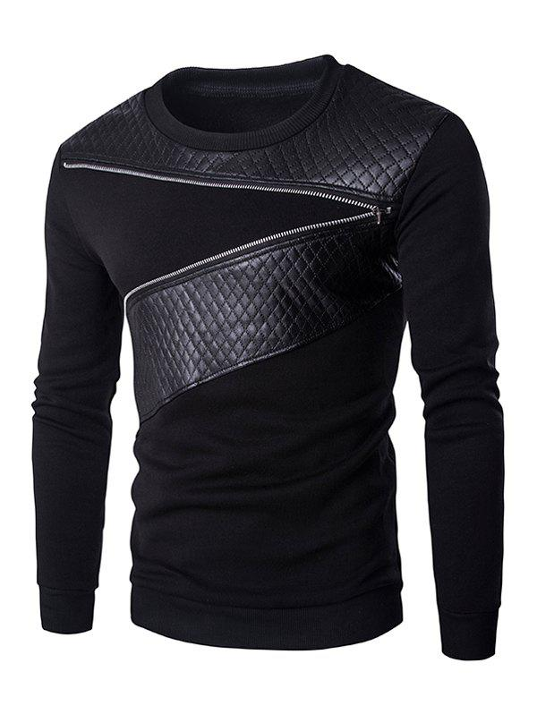 Quilting Faux Leather Splicing Zippered Men's Pullover Sweatshirt - BLACK 2XL