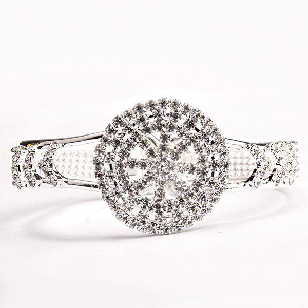 Rhinestone Watch Shape Alloy Hollow Out Bracelet - SILVER