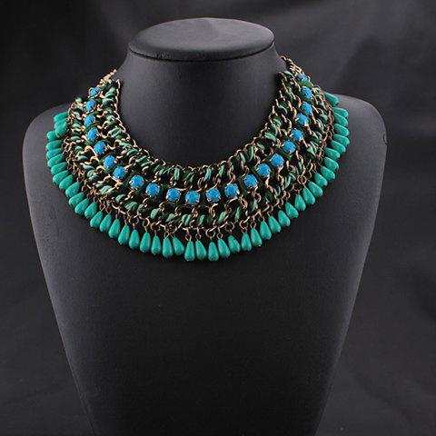 Multilayered Chain Beads Necklace - GREEN