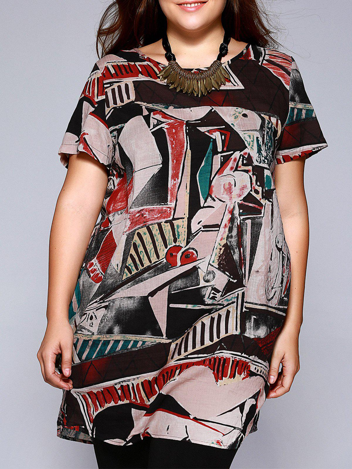 Plus Size Ethnic Abstract Pattern Baggy Blouse - COLORMIX 4XL