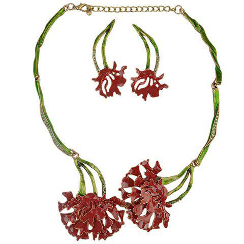 A Suit of Rhinestone Resin Flower Necklace and Earrings - RED