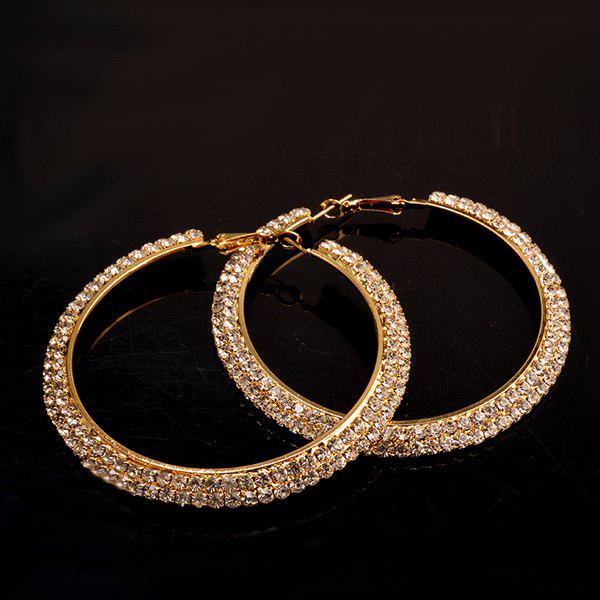 Pair of Stylish Gold Plated Rhinestone Curved Big Circle Hoop Earrings For Women