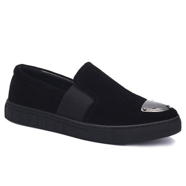 Stylish Metal and Elastic Band Design Men's Casual Shoes - BLACK 44