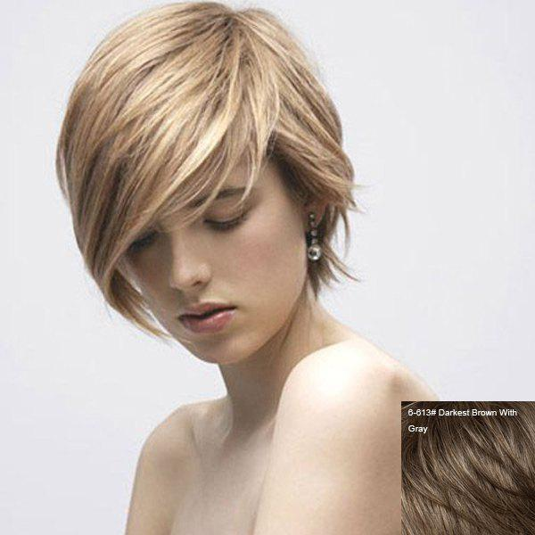 Graceful Short Straight Side Bang Women's Human Hair Wig - DARKEST BROWN/GRAY