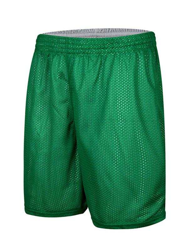 Mesh Design Loose-Fitting Elastic Waist Men's Basketball Shorts - GREEN 2XL