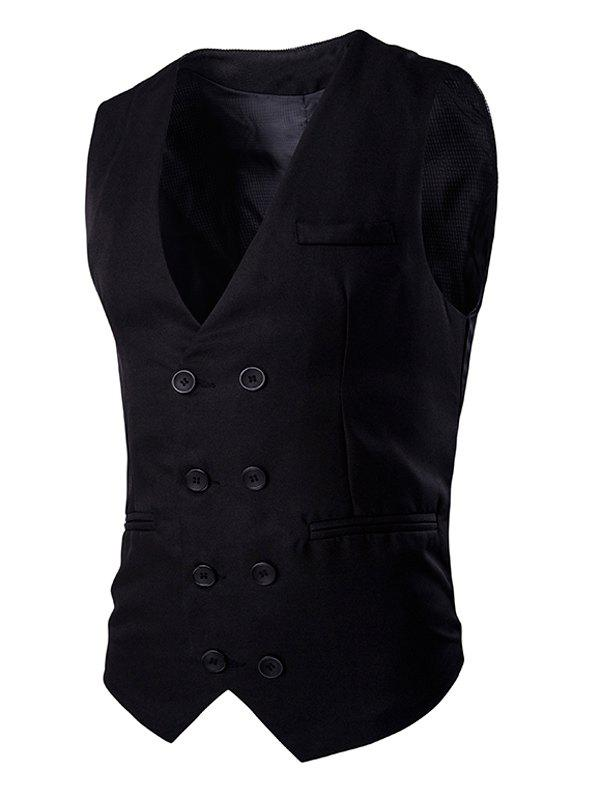 Buckle Back Solid Color Men's Double Breasted Vest - BLACK XL
