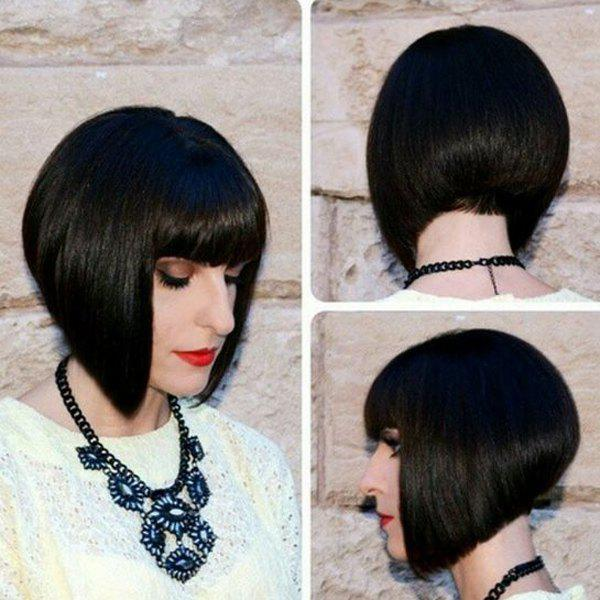 Charming Short Straight Jet Black Full Bang Women's Human Hair Wig - JET BLACK