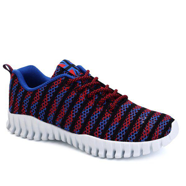 Stylish Colour Splicing and Tie Up Design Men's Athletic Shoes - BLUE/RED 43