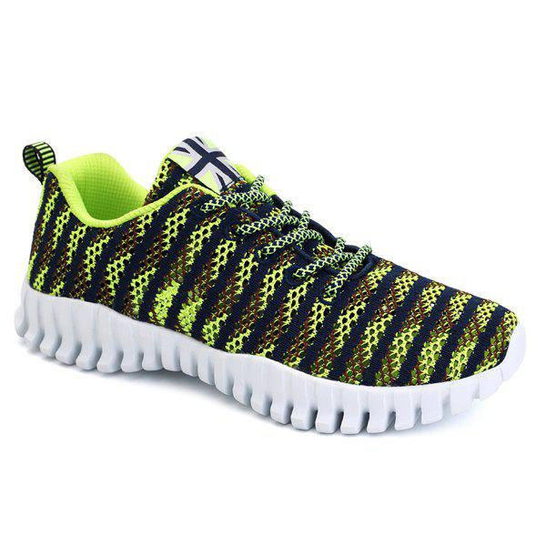 Buy Stylish Colour Splicing Tie Design Men's Athletic Shoes NEON GREEN