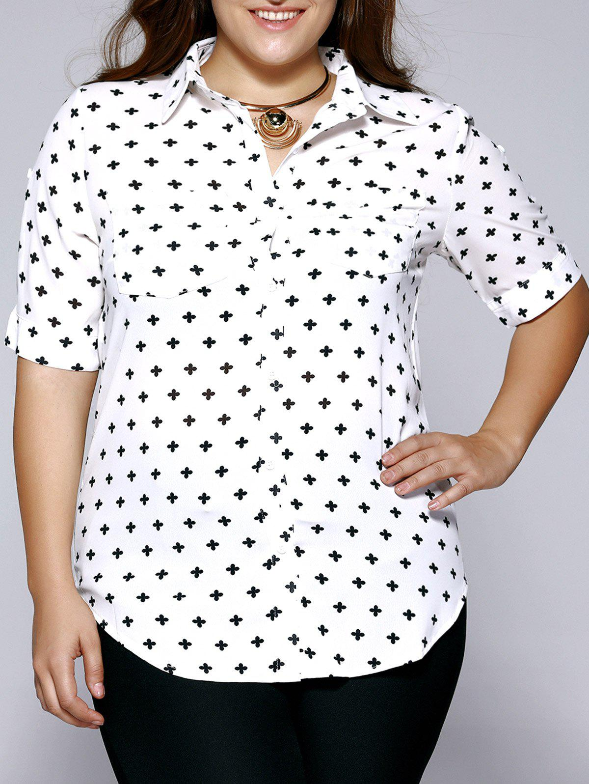 Plus Size Sweet Half Sleeve Chiffon Shirt - WHITE 4XL