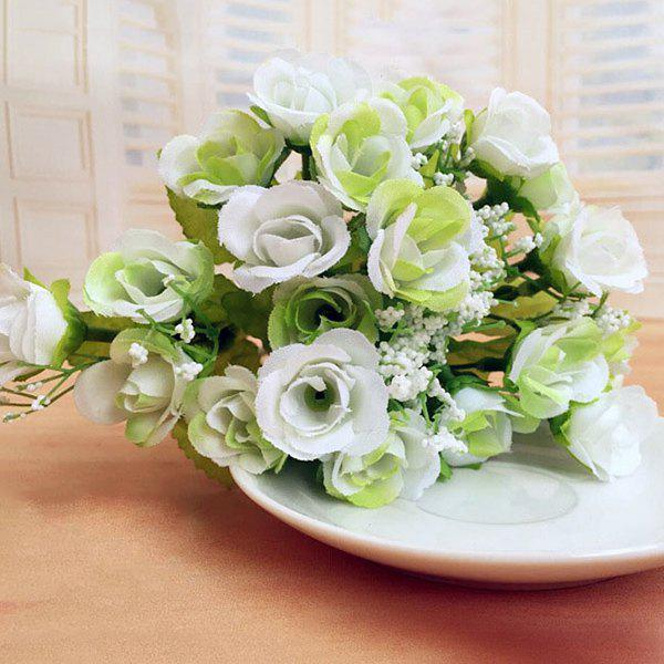 High Quality A Bouquet of Wedding Party Living Room Decor Artificial Rose - WHITE