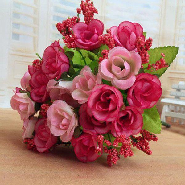High Quality A Bouquet of Wedding Party Living Room Decor Artificial Rose - PINK