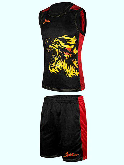 3D Wolf Print Color Block Splicing Round Neck Sleeveless Sport Suit ( Tank Top + Shorts ) - BLACK XL