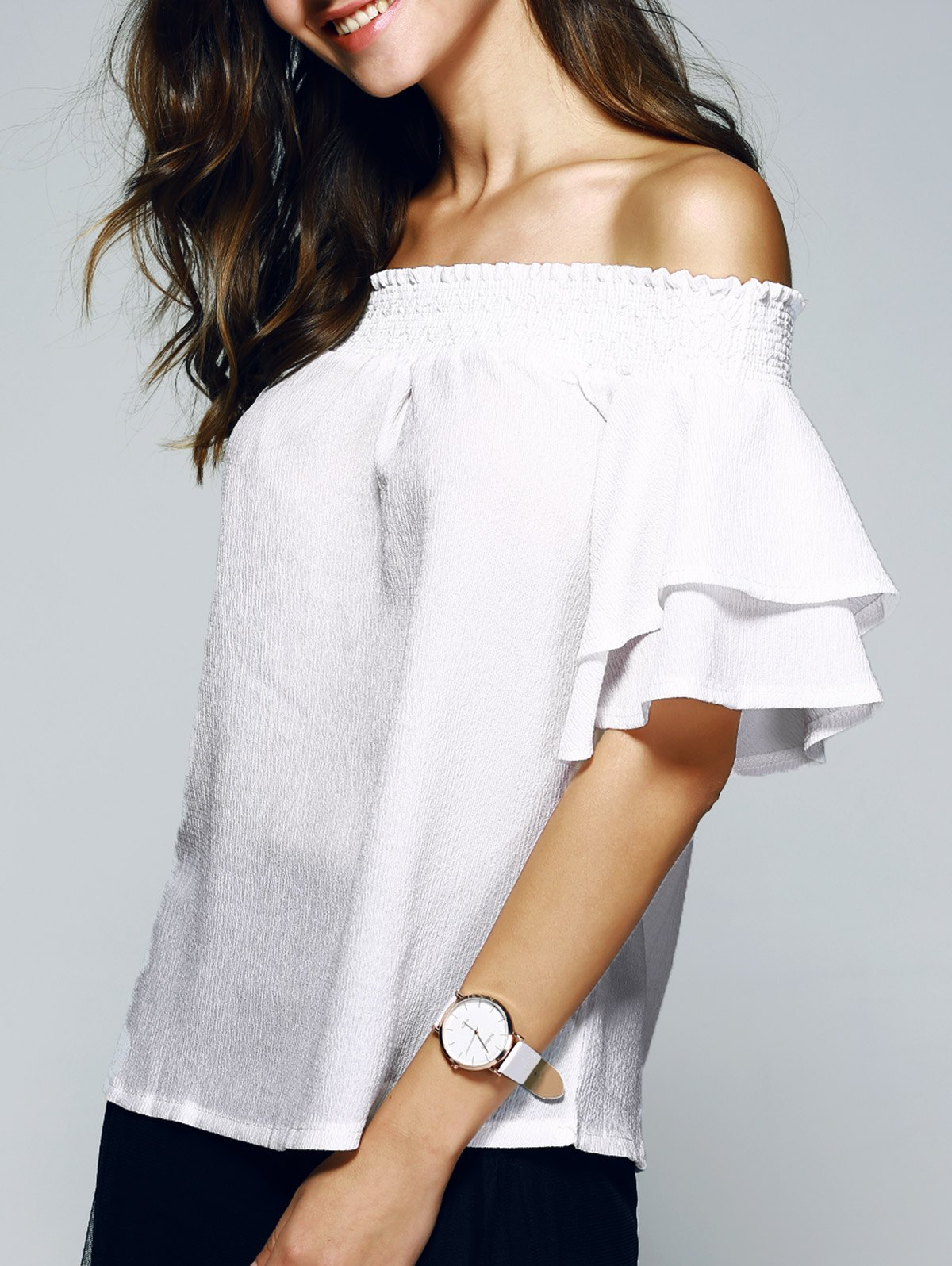 Nice Off The Shoulder Ruffle Sleeve PureColor BlouseWomen<br><br><br>Size: XL<br>Color: WHITE