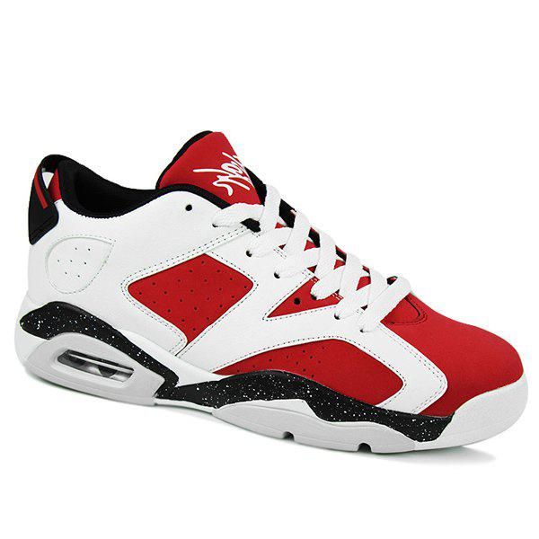 Stylish Breathable and Tie Up Design Men's Athletic Shoes - RED 43