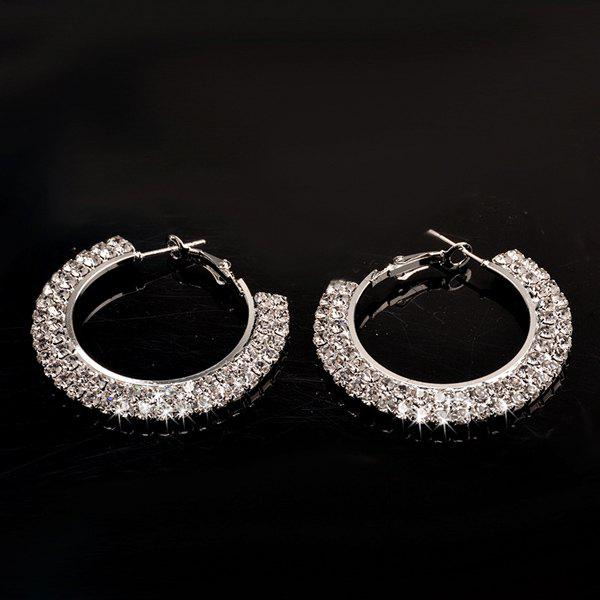 Pair of Stylish Rhinestone Circle Solid Color Hoop Earrings For Women
