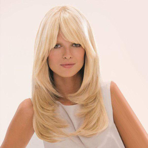 Fashion Long Side Bang Layered Tail Adduction Women's Human Hair Wig - BLONDE