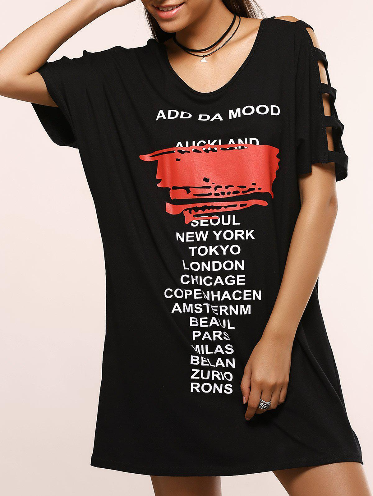 Hollow Out Letter Pattern Loose Dress