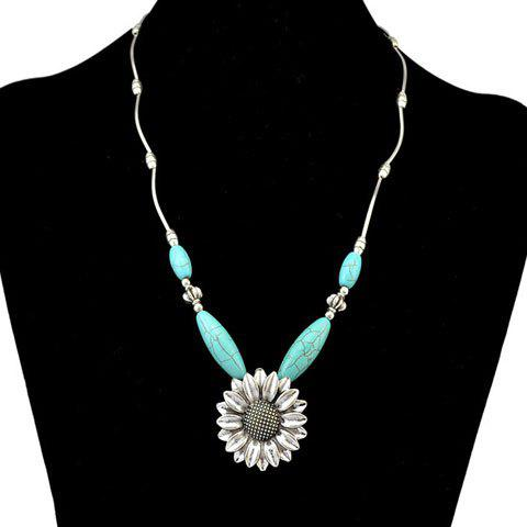 Faux Turquoise Sunflower Necklace - SILVER