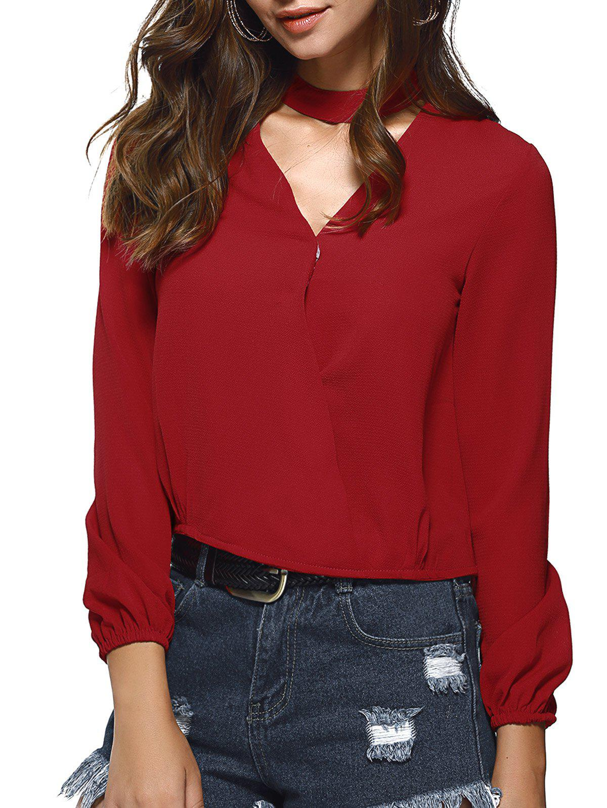 Chocker Low Cut Pure Color Long Sleeve Shirt - RED S