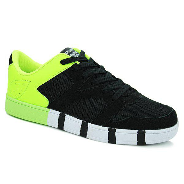Fashionable Tie Up and Color Splicing Design Men's Casual Shoes - BLACK/GREEN 43