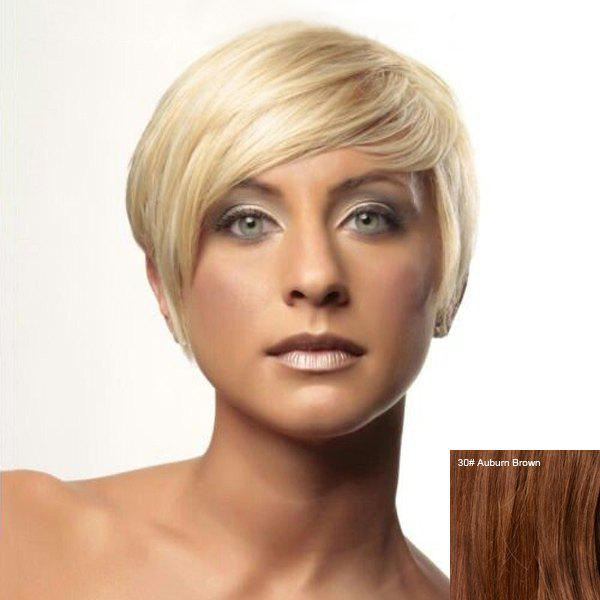Prevailing Side Bang Short Women's Human Hair Wig - AUBURN BROWN