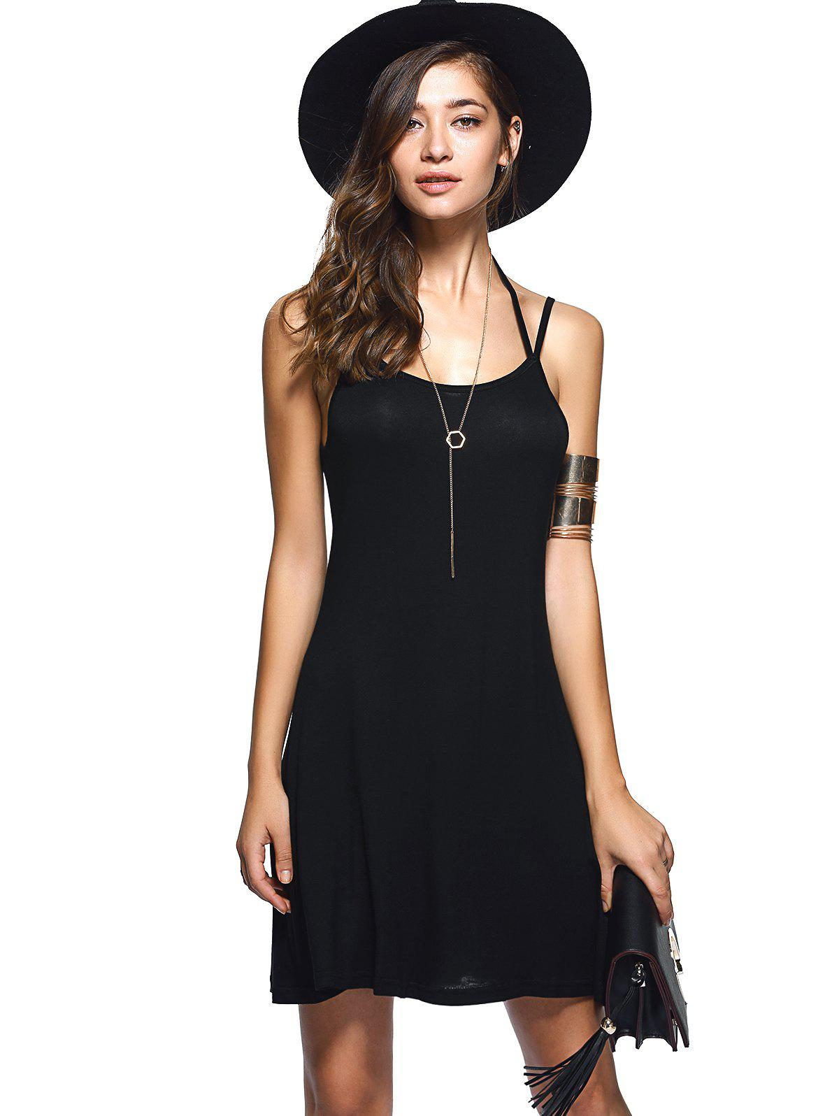 Spaghetti Strap Backless Casual Short Summer Dress - BLACK S