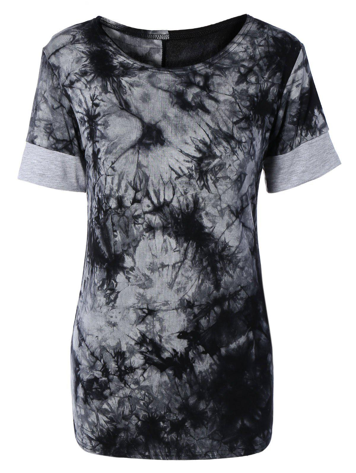 Trendy Short Sleeve Tie-Dye Spliced Women's T-Shirt - BLACK XL