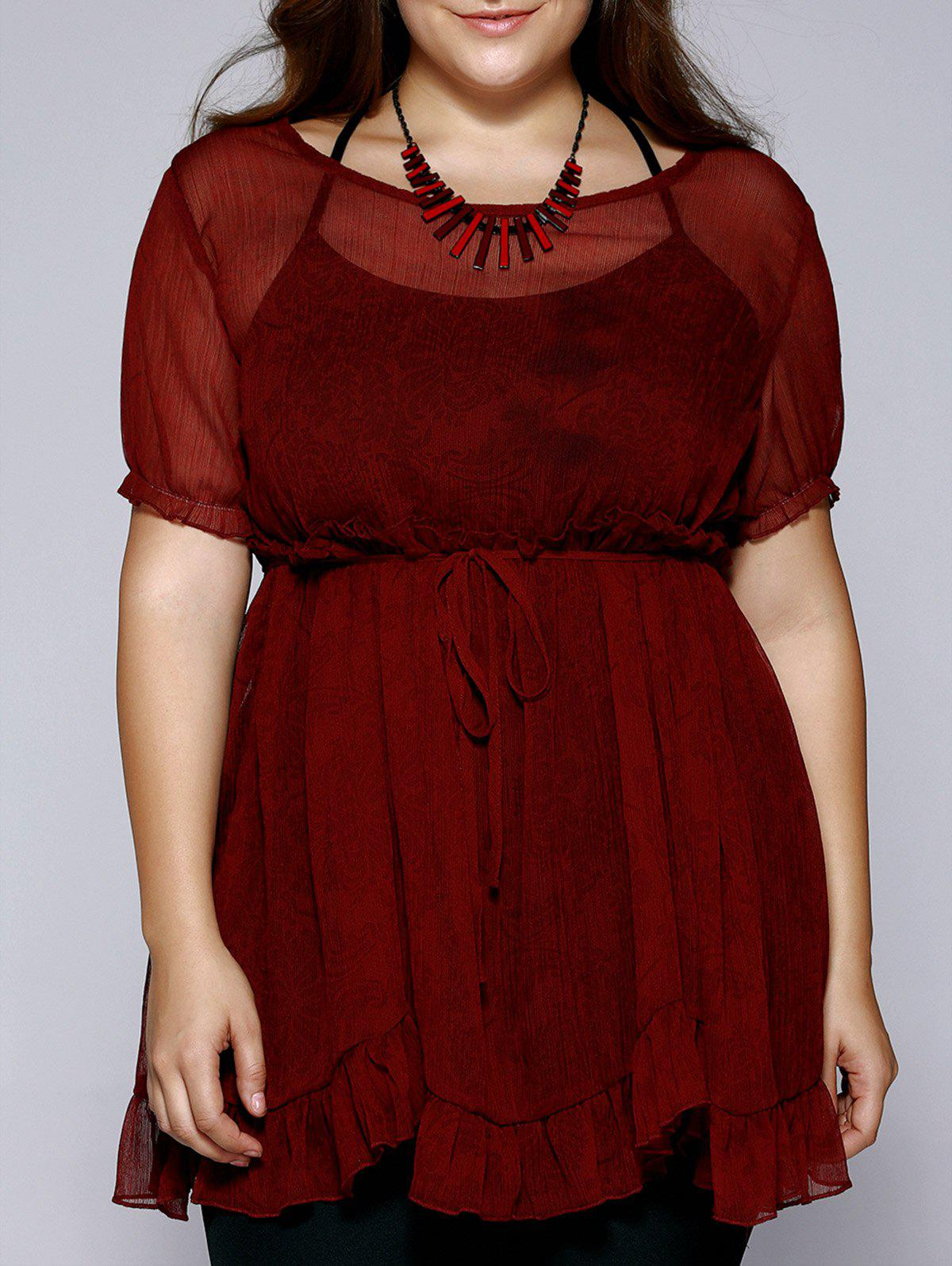 Oversized Ladylike Tank Top + Jacquard Flounced Blouse - CLARET 4XL