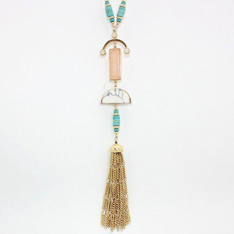 Bohemia Style Faux Gem Alloy Tassel Necklace For Women - PINK