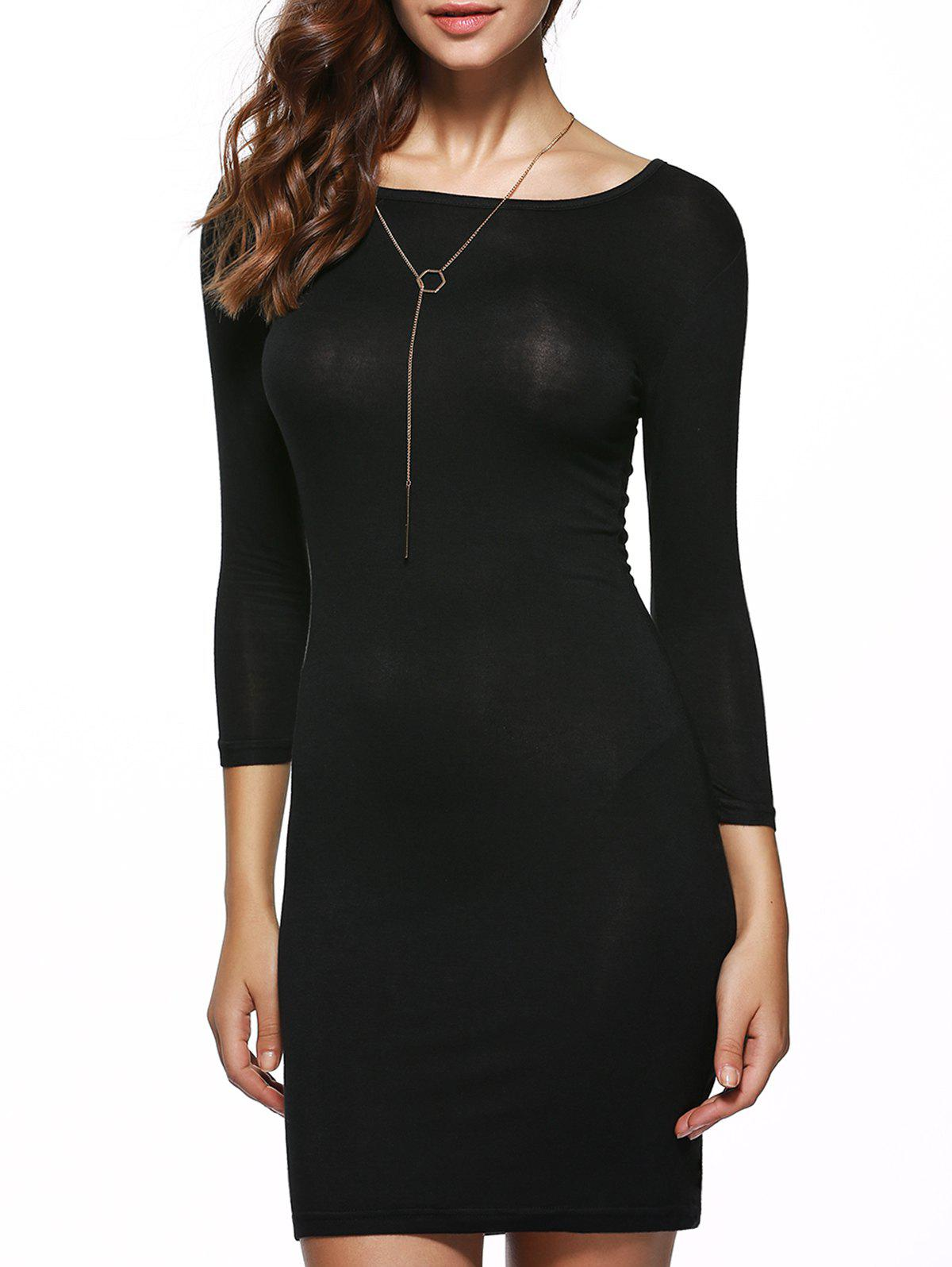 Elegant Pure Color Stretchy Bodycon Dress - BLACK XL