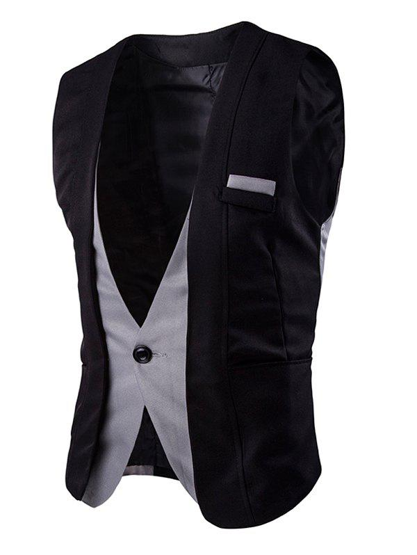 Buckle Back Color Splicing Men's One Button Vest - BLACK XL