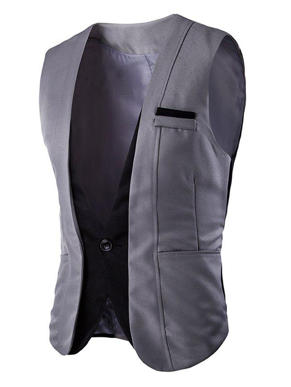 Buckle Back Color Splicing Men 's One Button Vest - Gris XL