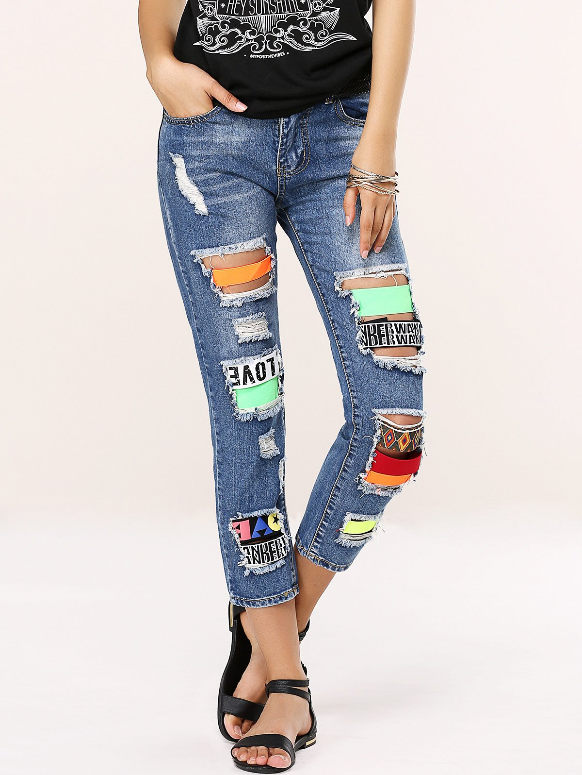 Stylish Colorful Icon Spliced Destroyed Jeans - BLUE 31