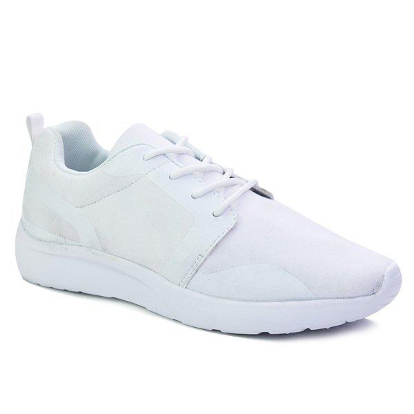 Trendy Solid Colour and Tie Up Design Men's Athletic Shoes - WHITE 44