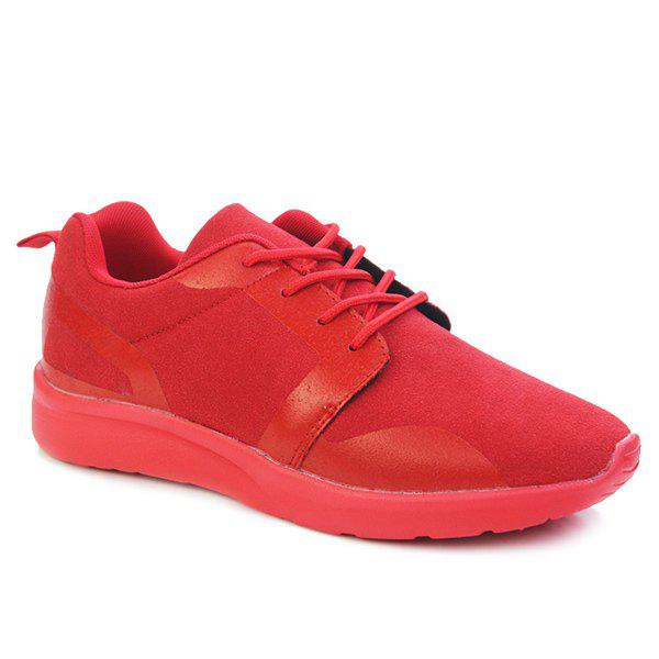 Trendy Solid Colour and Tie Up Design Men's Athletic Shoes - RED 44