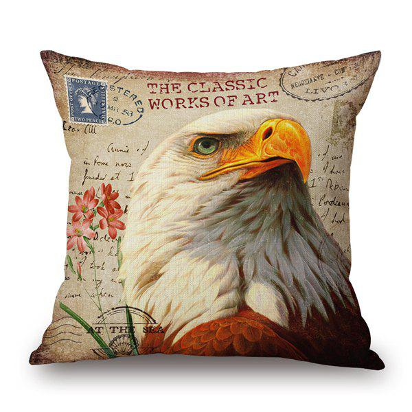 Retro Eagle Animal Print Sofa Car Decorative Pillow Case - ANTIQUE BROWN