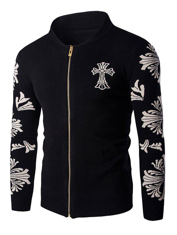 Cross Floral Pattern Zip Up Men's Long Sleeve Cardigan - BLACK 2XL