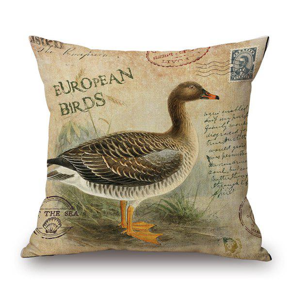European Bird Pattern Sofa Cushion Pillow Case - ANTIQUE BROWN